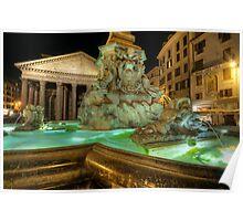 Fountain At Pantheon Poster