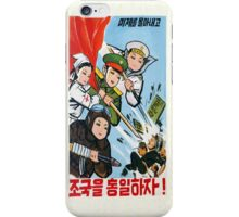 North Korea propaganda poster iPhone Case/Skin