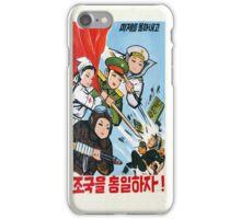 North Korea propaganda poster iPhone Case/Skin