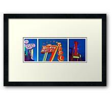 Vintage Neon Signs Trio Framed Print