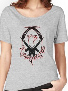 PB Logo Black & Red Large Women's Relaxed Fit T-Shirt