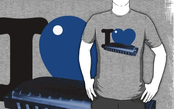 I Blue Heart Harmonica tee by BrBa