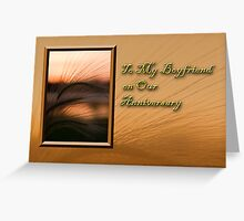 To My Boyfriend On Our Anniversary Grass Sunset Greeting Card