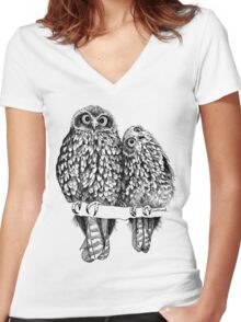 Morepork Owls Contemplate Life Women's Fitted V-Neck T-Shirt
