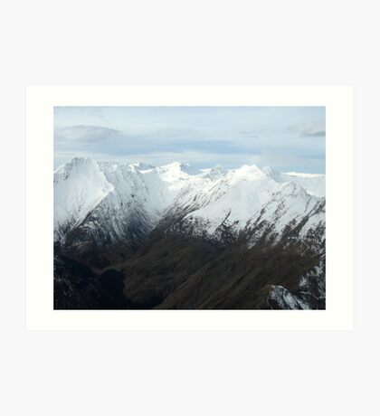 Snow Capped Mountains, New Zealand Art Print