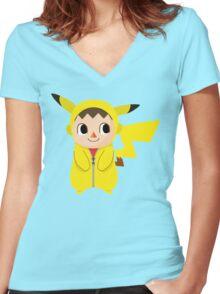 Villager Pika-Onesie Women's Fitted V-Neck T-Shirt