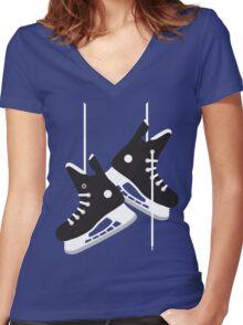 Ice hockey skates Women's Fitted V-Neck T-Shirt