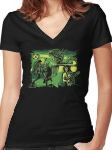Jurassic Xenomorphs Parody Mashup Women's Fitted V-Neck T-Shirt