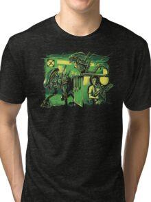 Jurassic Xenomorphs Parody Mashup Tri-blend T-Shirt