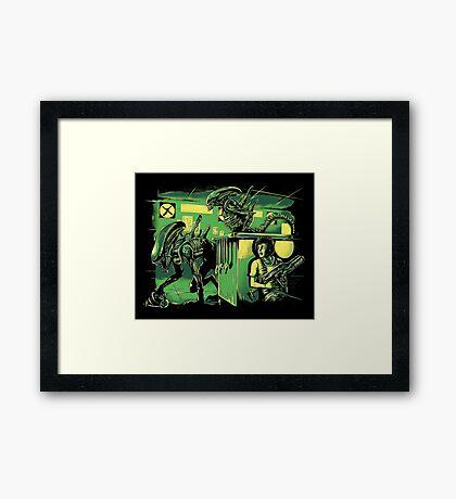Jurassic Xenomorphs Parody Mashup Framed Print