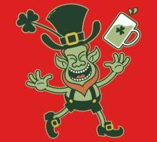 Euphoric Leprechaun Celebrating St Patrick's Day Kids Tee