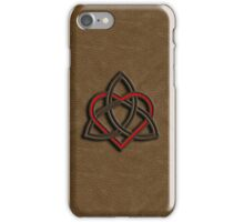 Celtic Knot Valentine Heart Brown Leather iPhone Case/Skin