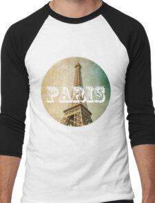 old fashioned paris The Eiffel Tower  Men's Baseball ¾ T-Shirt