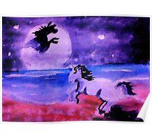 The mystical unicorn, watercolor Poster