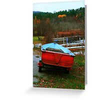 Red Boat Blue Waters Greeting Card