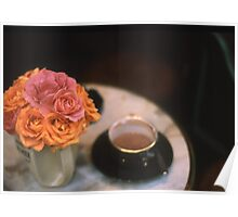 Rose Bouquet in Vase with Cup & Saucer on Table Poster