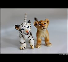 Schleich Vintage White Tiger And Lion Cubs Figurines  by © Sophie W. Smith