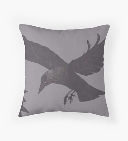 Jackdaw Escapes Throw Pillow