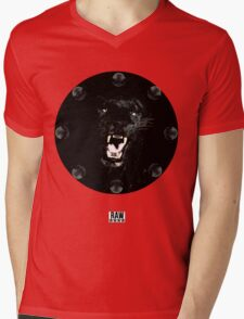 RAW**** x BLACK JAGUAR Mens V-Neck T-Shirt