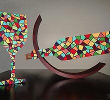 MOSAIC WINE BOTTLE AND GLASS by Chris Balazs