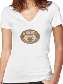 Marmite sepia Women's Fitted V-Neck T-Shirt