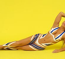 Fit Woman with Tape, on the Floor by TheFotogArtist