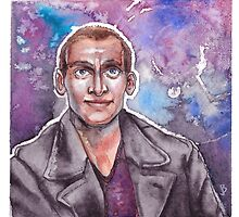 9th Doctor Watercolor by kahahuna