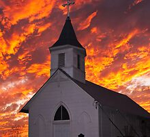 Church with Sky Aflame by Peter Shugart
