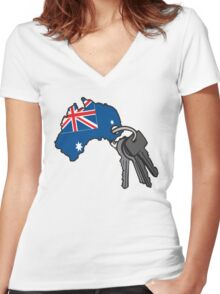 Keys to Australia  Women's Fitted V-Neck T-Shirt