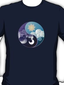 Celestia/Luna Sky and Clouds Yin Yang - Subtle Brony T-Shirt