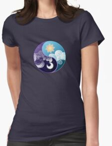 Celestia/Luna Sky and Clouds Yin Yang - Subtle Brony Womens Fitted T-Shirt