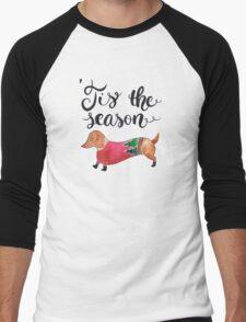 'Tis the Season for Christmas and Dog Lovers Men's Baseball ¾ T-Shirt