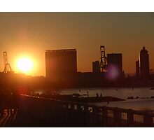 golden rays black outlined buildings,yokohama Photographic Print