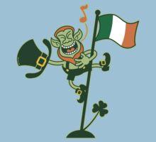 Green Leprechaun Singing on a Flag Pole Baby Tee