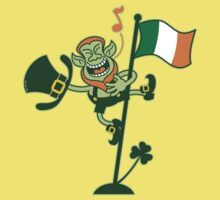 Green Leprechaun Singing on a Flag Pole Kids Clothes