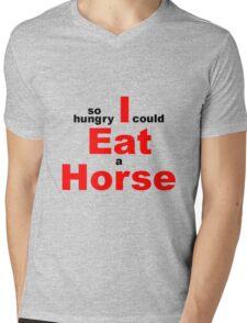 EAT HORSE HUNGRY Mens V-Neck T-Shirt