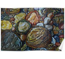 River Stones Oil Painting Poster