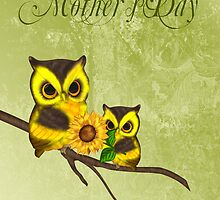 Mother's Day Greeting Card With Owls And Sunflowers by Moonlake