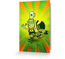 Leprechaun Balancing a Glass of Beer on his Head Greeting Card