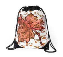 Red Fall Leaf Drawstring Bag