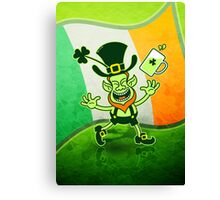 Euphoric Leprechaun Celebrating St Patrick's Day Canvas Print
