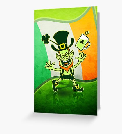 Euphoric Leprechaun Celebrating St Patrick's Day Greeting Card