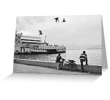 Ferryboat in Karsiyaka Port in Izmir, Turkey Greeting Card