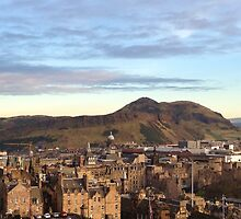 Edinburgh Castle Viewpoint.  Arthur's Seat and Salisbury Crags. by LBMcNicoll