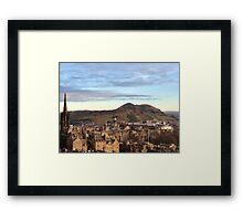 Edinburgh Castle Viewpoint.  Arthur's Seat and Salisbury Crags. Framed Print