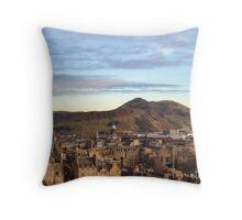 Edinburgh Castle Viewpoint.  Arthur's Seat and Salisbury Crags. Throw Pillow