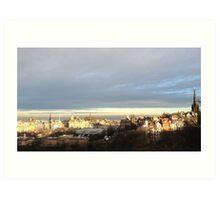 Edinburgh Castle viewpoint. Ramsay Gardens and the East End.  Art Print