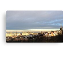 Edinburgh Castle viewpoint. Ramsay Gardens and the East End.  Canvas Print