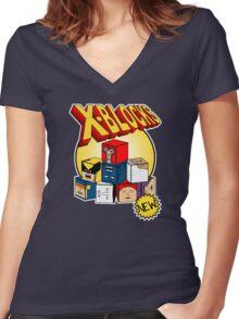 X-Blocks Logo Women's Fitted V-Neck T-Shirt