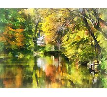 Little House by the Stream in Autumn Photographic Print